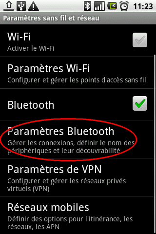 parametre bluetooth android