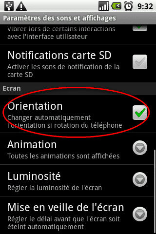 orientation automatique