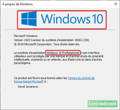 La version de Windows avec Winver
