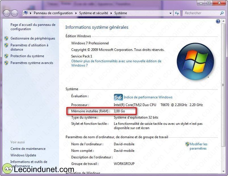 connaitre mémoire carte graphique windows 10 Connaître la mémoire RAM installée sur votre ordinateur   Lecoindunet