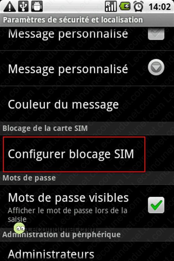 Configurer blocage SIM