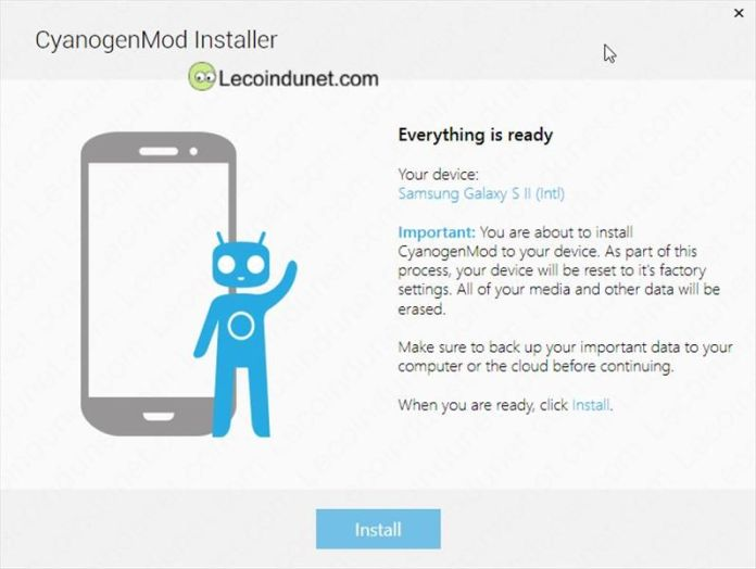 CyanogenMod Installer_bouton install