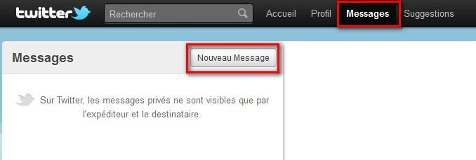 nouveau message privé twitter