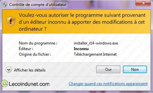 fenetre avertissement 1 UAC windows 7