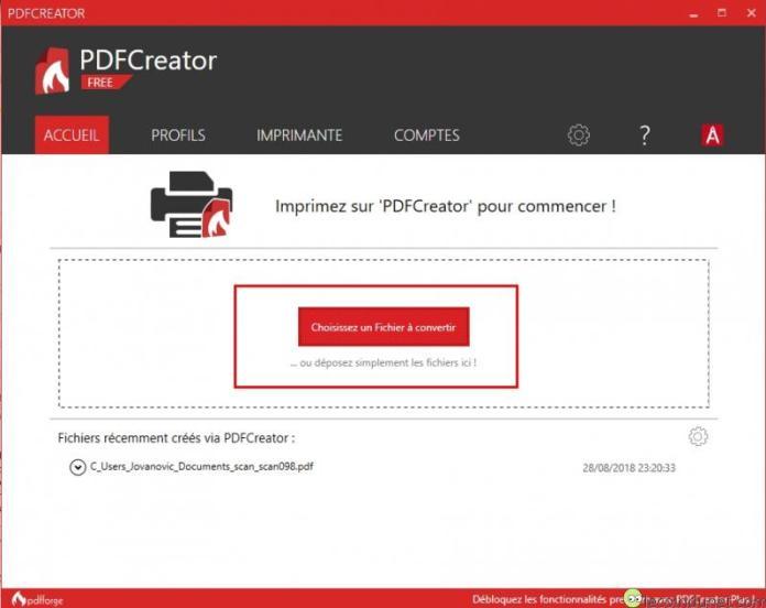 PDFCreator - Sélection des fichiers à fusionner