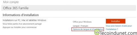 office365 - Option de langue et d'installation