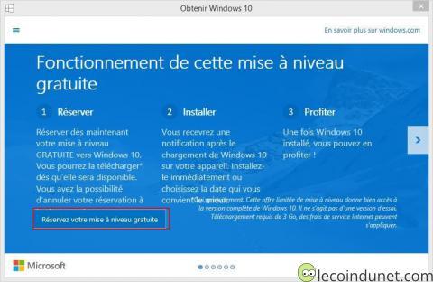 Obtenir Windows 10 - réservation