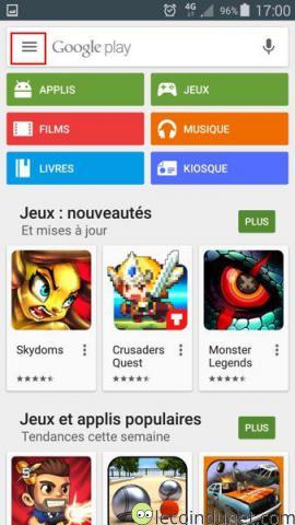 Google Play - Accueil