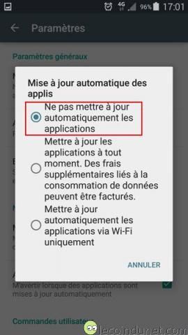 Google Play - Désactiver mises à jour