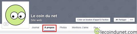 Page facebook - A propos
