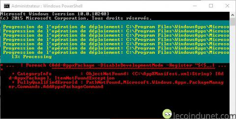 Windows 10 - Commande appxpackage