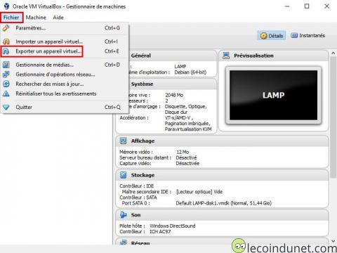 VitualBox - Fichier - Exporter