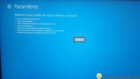 Windows 10 - Démarrage avancé- redémarrer