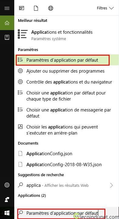 Menu démarrer - paramètres d'application par défaut