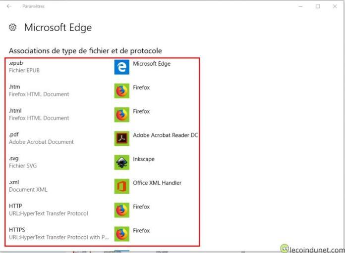 Microsoft Edge - Associations de type de fichier et de protocole