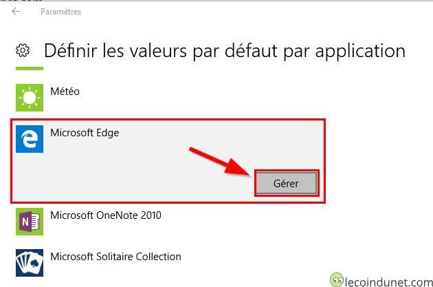 Windows 10 - définir les valeurs par défaut