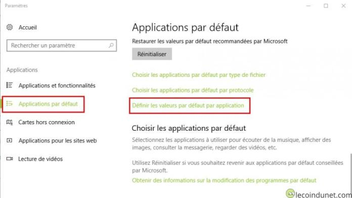 Windows 10 - Paramètres - applications par défaut