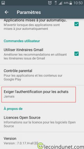 Google Play Store - Exiger authentification