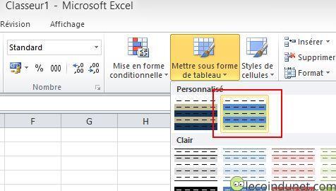 Excel Appliquer mise en forme perso