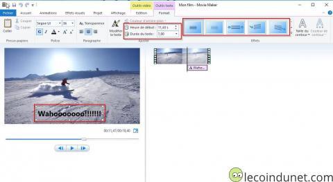 Movie Maker - Editer le texte