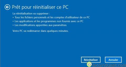 Windows 10 - Réinitialiser Windows 10 confirmation