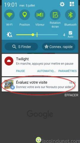 Google Maps - Exemple demande d'évaluation