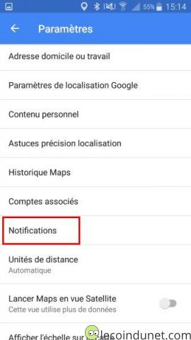 Google Maps - Menu Notifications