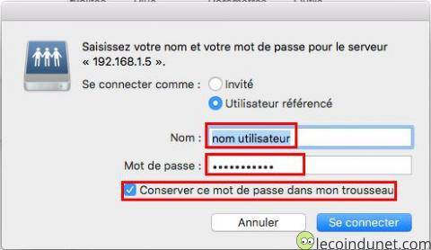 Mac - connecter un lecteur réseau saisie des identifiants