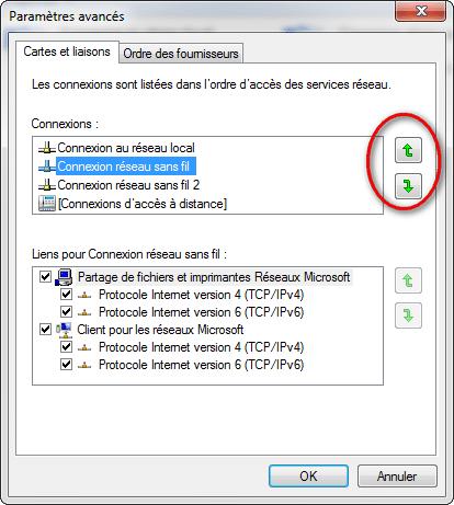 Windows 7 - Modifier priorité des cartes réseaux