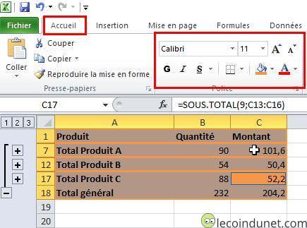 Excel - Mise en forme sous-totaux