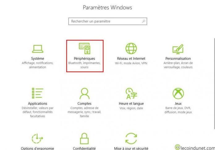 Windows 10 - Paramètres - Périphériques