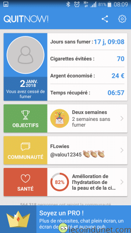 Application QuitNow! sur Android
