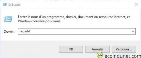 Windows 10 - Exécuter regedit