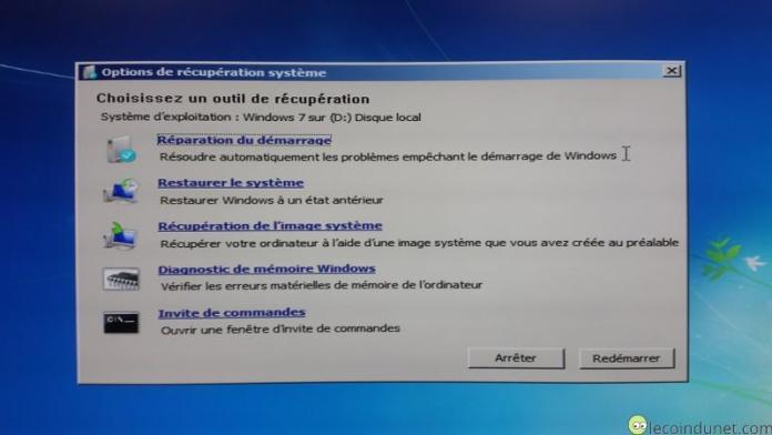 Windows 7 - Outils de récupération