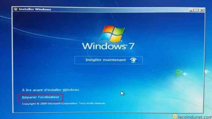 Windows 7 - Réparer l'odinateur