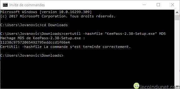 Vérifier hash MD5 d'une fichier avec invite de commande Windows