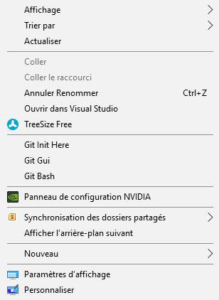Exemple menu contextuel par un clic droit sur Windows