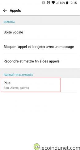 Android - menu Appels - Paramètres avancés
