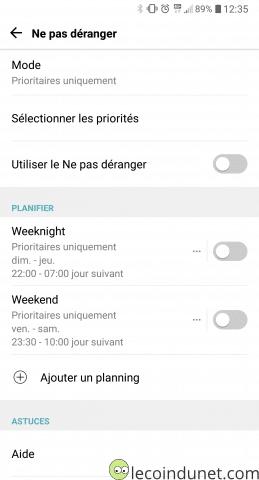 Android - Mode ne pas déranger