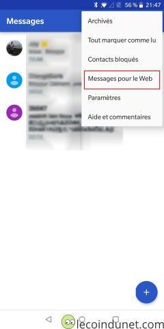 Android Messages - Menu déroulant