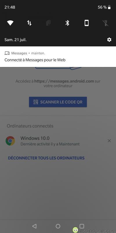 Android Messages - Notification de connexion