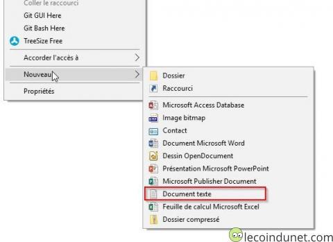 Nouveau document texte menu contextuel