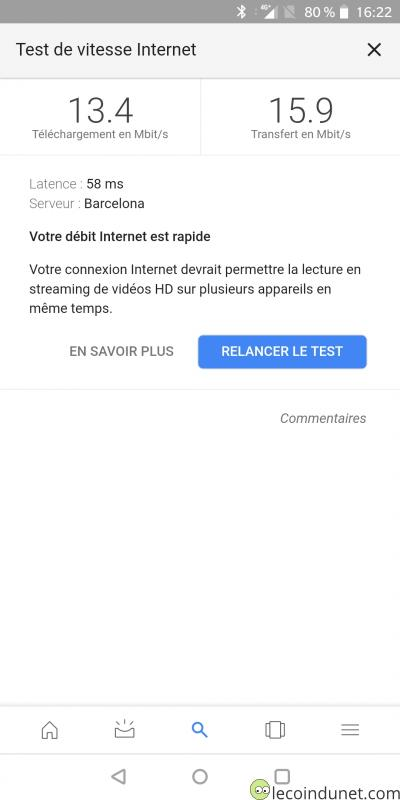 Speedtest Google_Test en cours