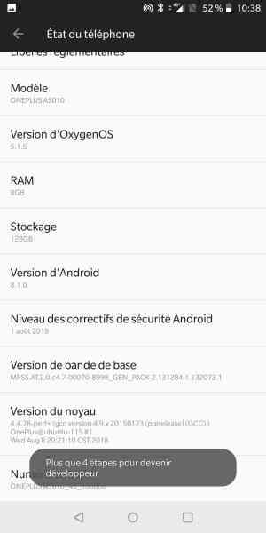 Accéder aux paramètres de développeur sur Android Oreo
