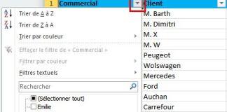 Excel 2010 - Définir filtre