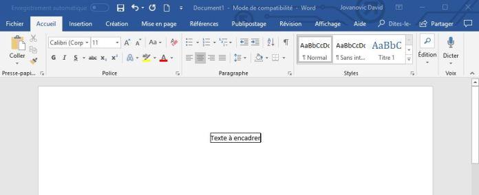 Encadrer un texte avec Word