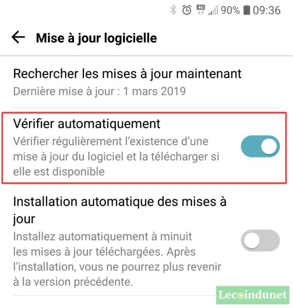 Vérifier automatiquement les mises à jour Android