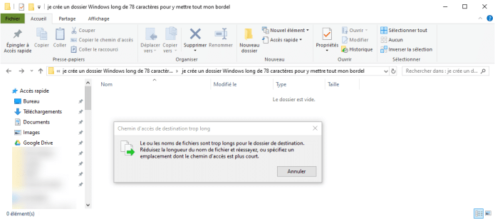 Modifier la limite de caractères des chemins d'accès Windows