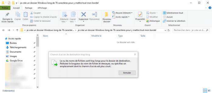 Erreur nom de fichier trop long Exploateur Windows