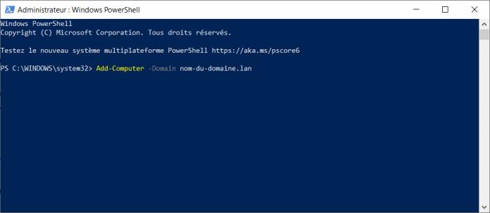 Joindre un domaine Windows 10 avec PowerShell
